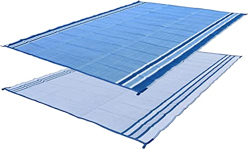 Professional EZ Travel Collection Reversible RV Outdoor Rug for Backyards, Beaches, Camping Grounds, Patios, and More, Storage Bag and Mat Stakes Included, Ocean Blue 9×12