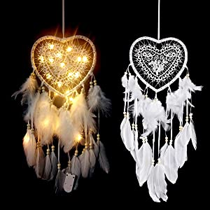 LED Dream Catcher - Wall Hanging Dreamcatcher Home Décor (Heart) Handmade Traditional Feather Craft Ornament for Girls, Kids, Native American, Bedroom, Party Decoration Blessing Gift