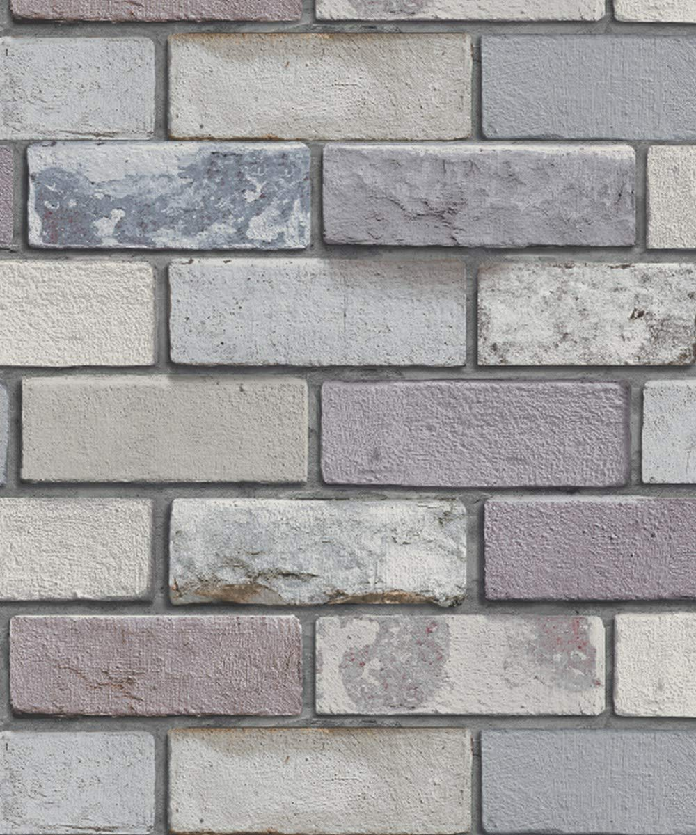 Slate Grey Realistic Brick Wall Faux Wallpaper 3D Effect Rustic Feature 6753