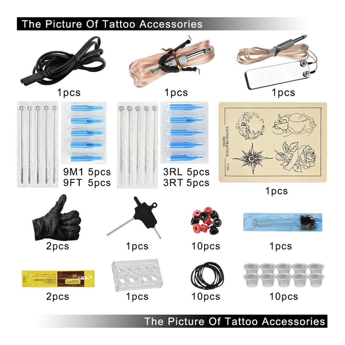 Funnyrunstore Juego de m/áquina Profesional de Tatuaje con cord/ón de Clip Pedal del pie Motor de Tatuaje Pistola rotativa Mini Fuente de alimentaci/ón Kit de Accesorios para Tatuaje Negro y Dorado
