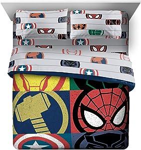 Marvel Avengers Emblems 7 Piece Queen Bed Set - Includes Comforter & Sheet Set Bedding - Super Soft Fade Resistant Microfiber (Official Marvel Product)