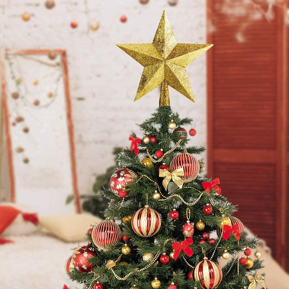 20 Cm Xmas Glitter Star Albero di Natale Stella a Cinque Punte Albero Brillante Decorazione Festiva per La Decorazione Della Casa Del Partito NNGT Stella Albero di Natale Topper