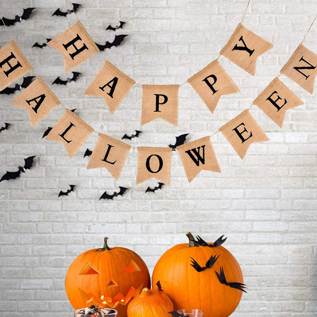 Happy Halloween Burlap Banner Decor, 14Pcs Linen Bunting Hanging Banner Ornaments Halloween Home Party Wall Decoration Supplies
