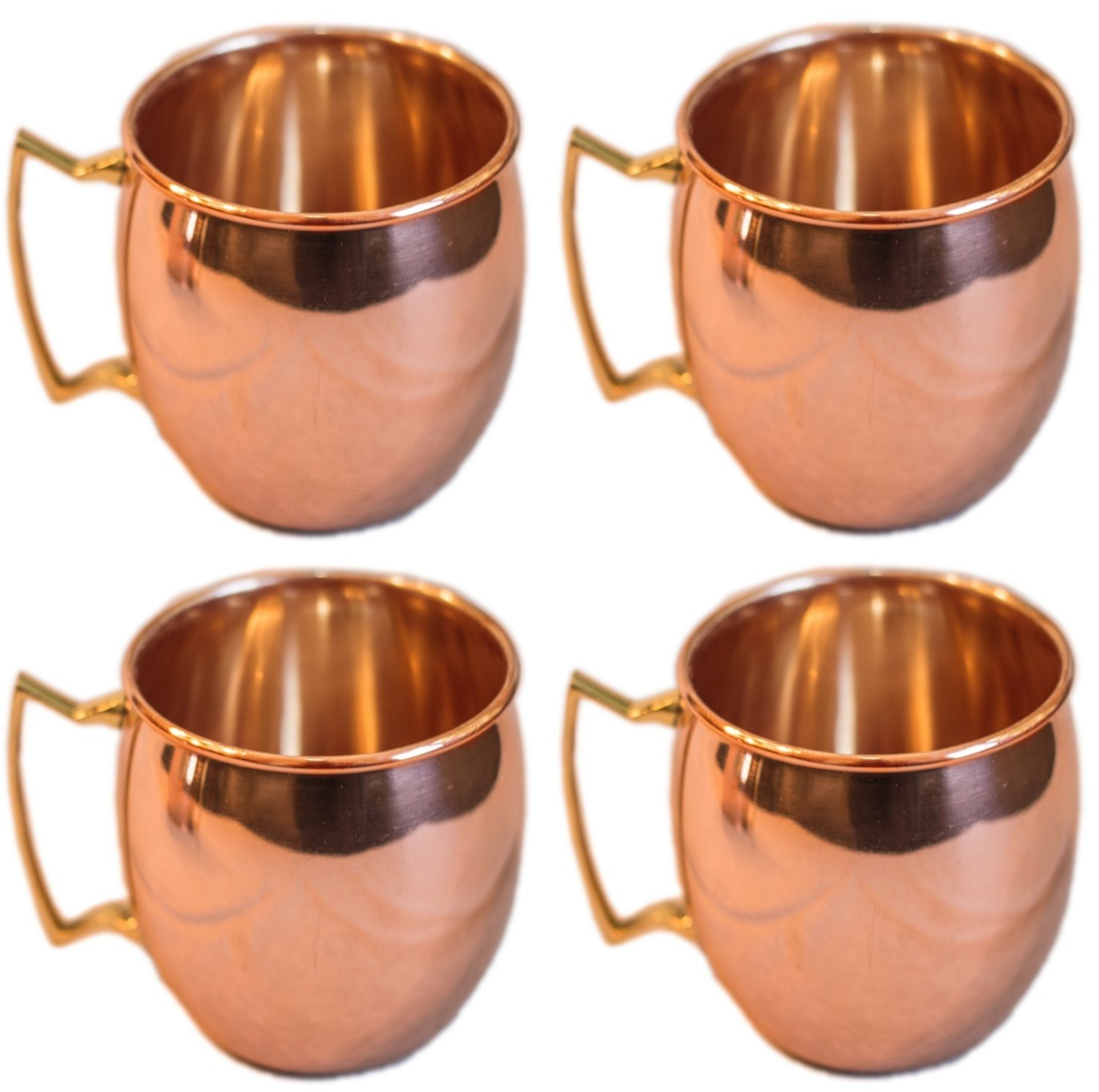 Moscow Mule 100 % Solid Pure Copper Mugs/Cups - Set of 4(16-ounce/Set of 4, Smooth) by galaxy hub Martsindia