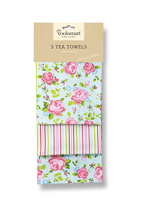 Genial Cooksmart Tea Towels, Pack Of 3, Vintage Floral