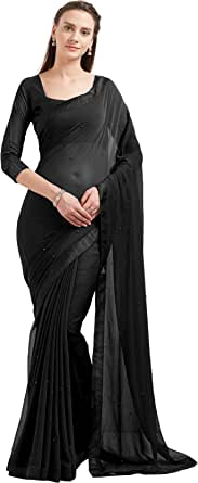 Sourbh Women's Faux Georgette Fancy Work Saree Indian Dress (5537_with Color Options)