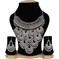 Antique Oxidised German Silver Black Metal Necklace Tribal Banjara/Silver Oxidised Designer Afghani Traditional/Necklace Gypsy Style/Fusion Jewellery for Women