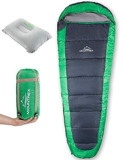 Saco de Dormir MOUNTREX® - Ultraligero y Compacto (850g) | Saco de Dormir de Verano para Exteriores - Saco de Dormir con Capucha (205x75cm) | Saco de ...