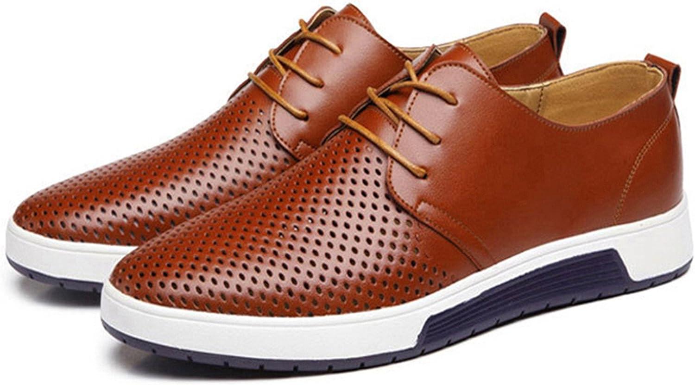 Dmoshibei New Mens Shoes Leather Holes Design Summer Breathable Shoes Men Flats