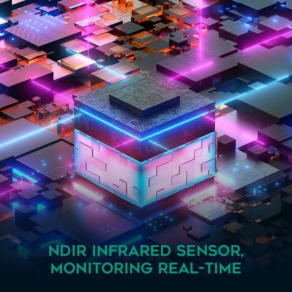 APROTII Portable Air Quality Monitor Desktop Temperature Carbon Dioxide Detector Mini Indoor CO2 Meter NDIR Sensor Date Logger 400~5000ppm Range
