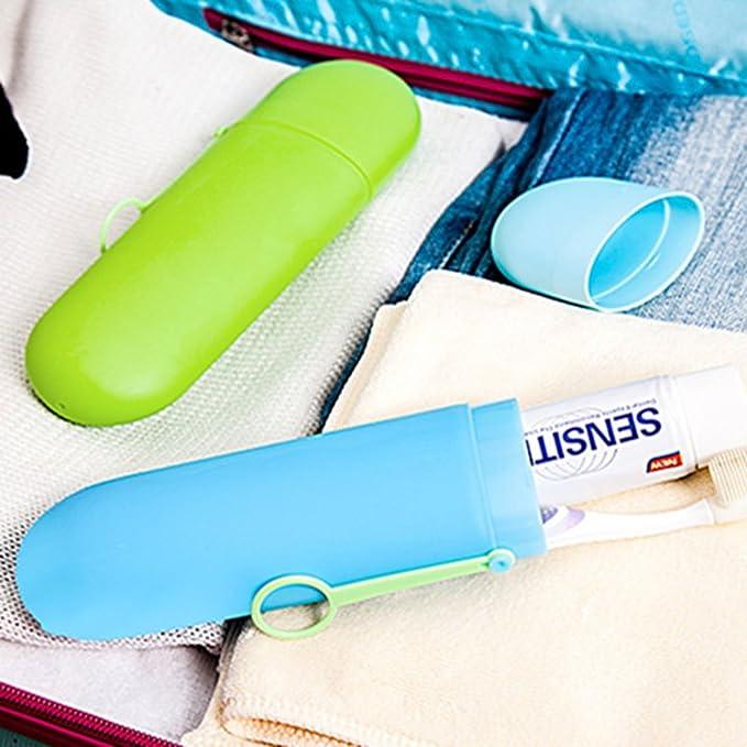 Amazon.com: eDealMax Viajes plástico Oval WC Cepillo de dientes Pasta de dientes Toalla de almacenamiento Caja rosada Box: Home & Kitchen