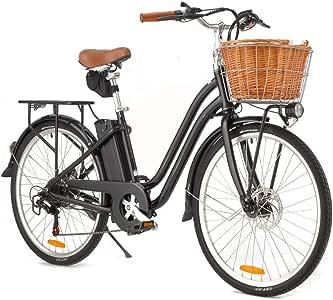 VALK SOHO Vintage Style Electric Bike, with Step-Through Frame, Black