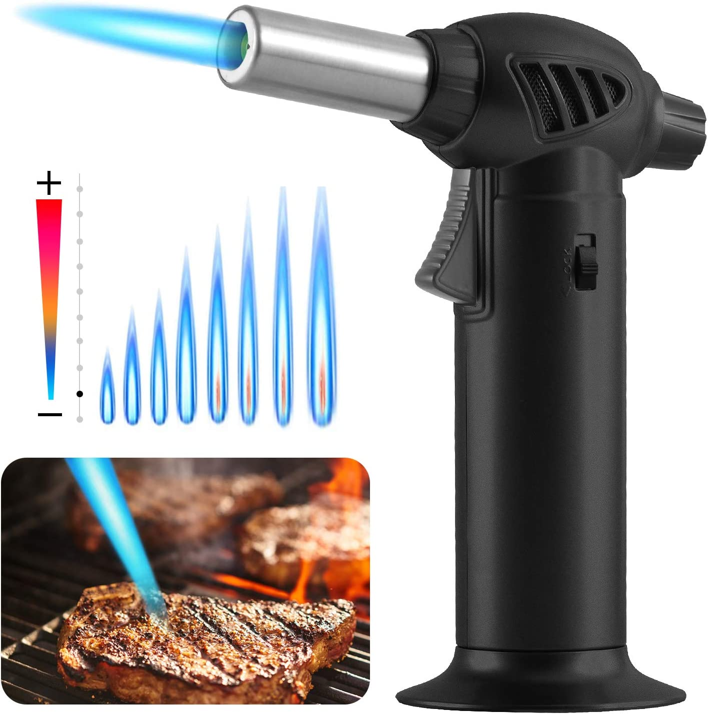 Naisicore Butane Cooking Torch Refillable with Safety Lock and Adjustable Flame for Desserts, Creme Brulee, BBQ and Baking(Butane Gas Not Included)