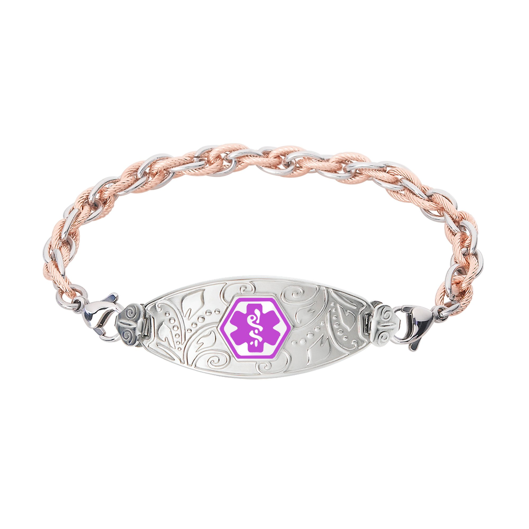 Divoti Custom Engraved Lovely Filigree Medical Alert Bracelet -Inter-Mesh Rose Gold/Silver Stainless -Purple-6.0''