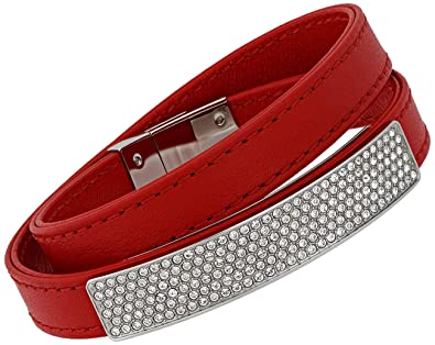 746676dfc Image Unavailable. Image not available for. Color: Swarovski Vio Red  Leather 5120644 Stainless Steel Plaque Clear Crystal Bracelet for Women