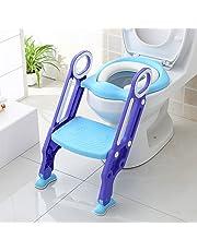 BAMNY Siège de Toilette Enfant Pliable et Réglable, Reducteur de Toilette Bébé avec Marches Larges, Lunette de Toilette Confortable Matériaux de Haute Qualité