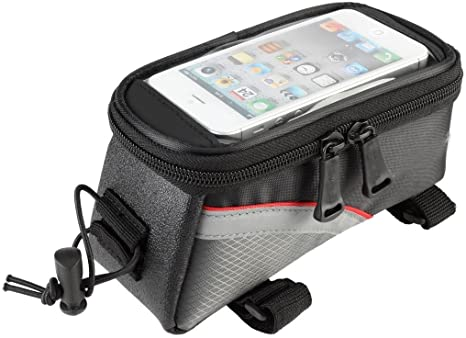 MobilX Cycling Bike Frame Bag Tube Pannier Pouch for Smartphones/Cellphone Mobiles Bicycle Accessories w Reflective Strip for Night Riding Cycle Frame Bags at amazon