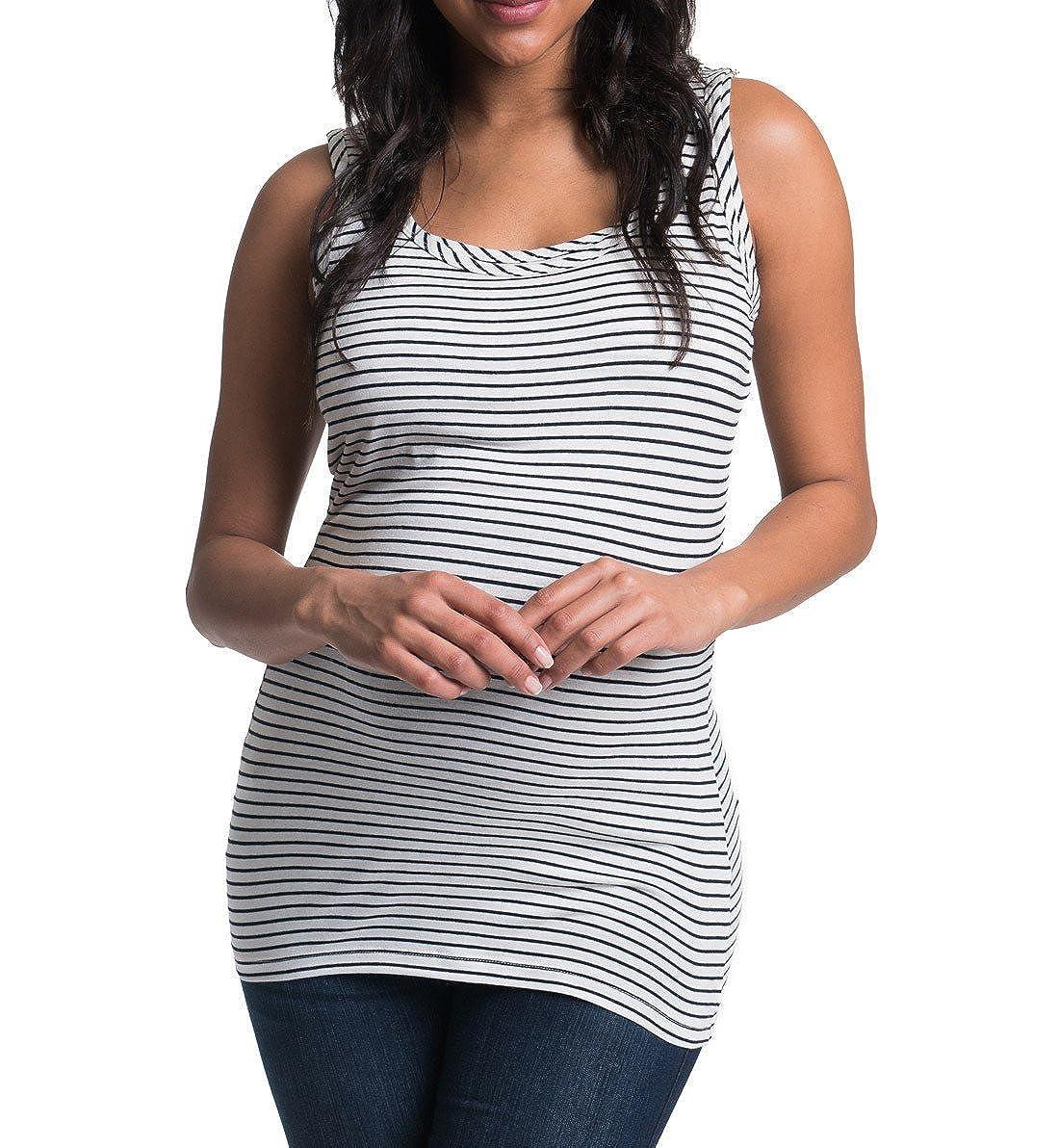 9a913f8a84d72 BUN Pencil Stripe Maternity / Nursing Tank #B7014, XL 14-16, Navy/Ivory at Amazon  Women's Clothing store: