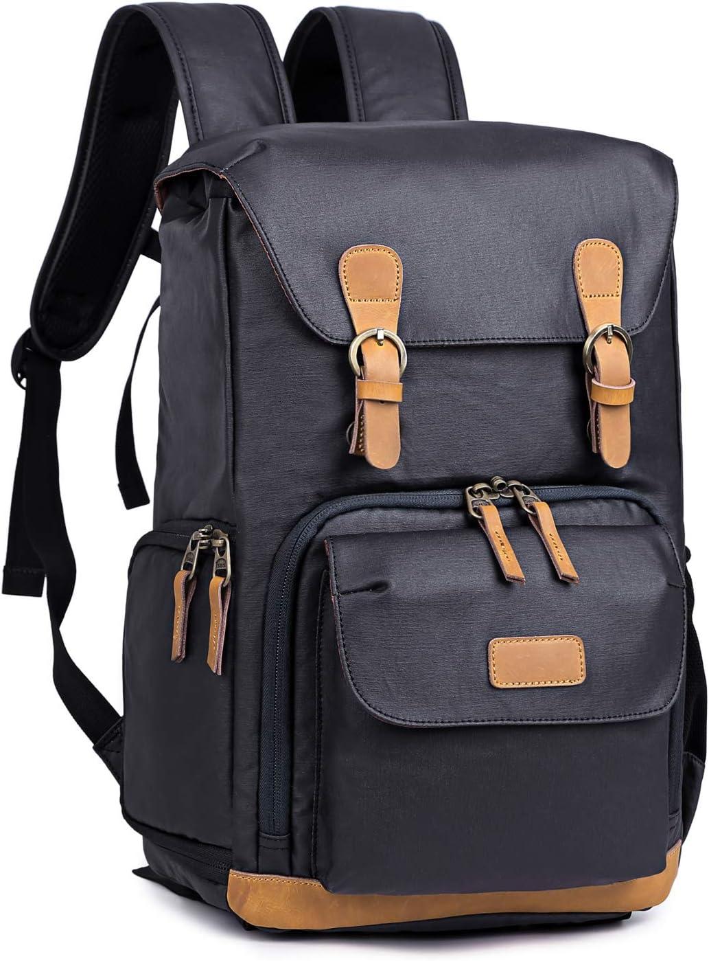 Kattee Camera Backpack Canvas Water-repellent 15 inch Laptop Bag DSLR SLR Backpack for Men Women