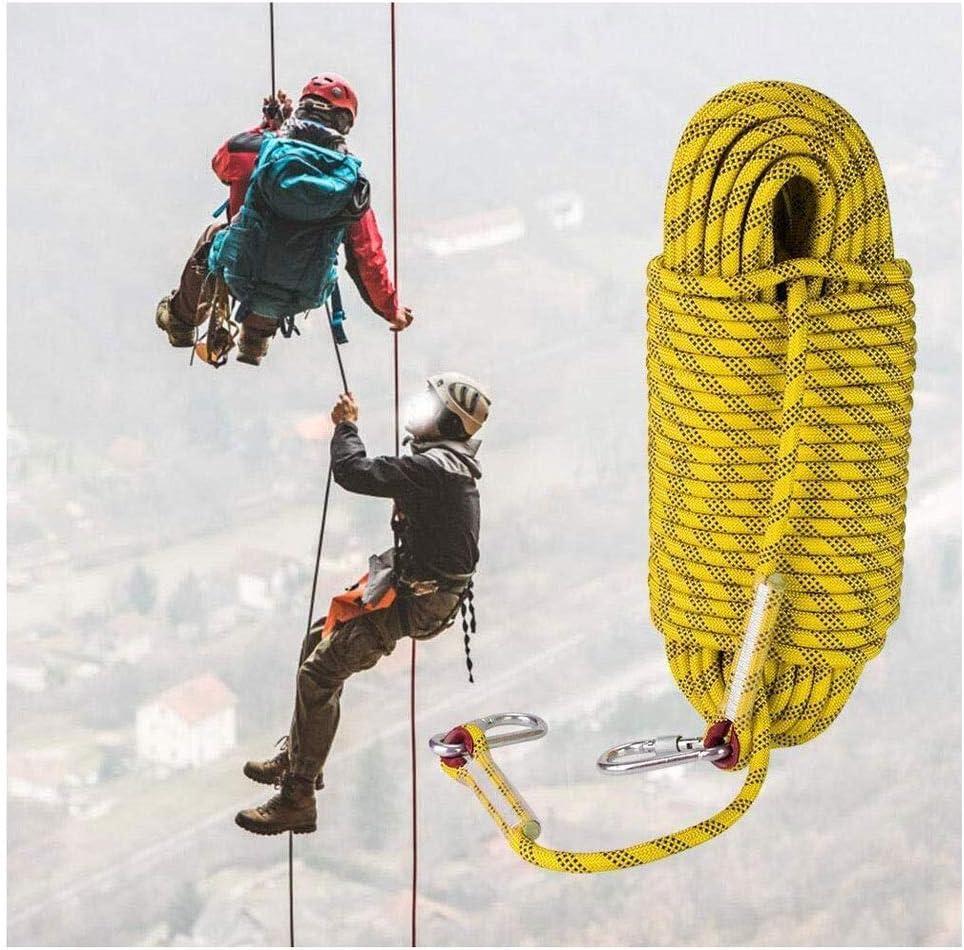安全ロープ静電ロープアウトドア静的ロッククライミングロープ ロッククライミングロープ、安全ロープ、2カラビナ付き直径12mm、火災緊急脱出安全サバイバルロープ キャンプレスキュー安全ロック付きの太いロープ (Size : 100m)