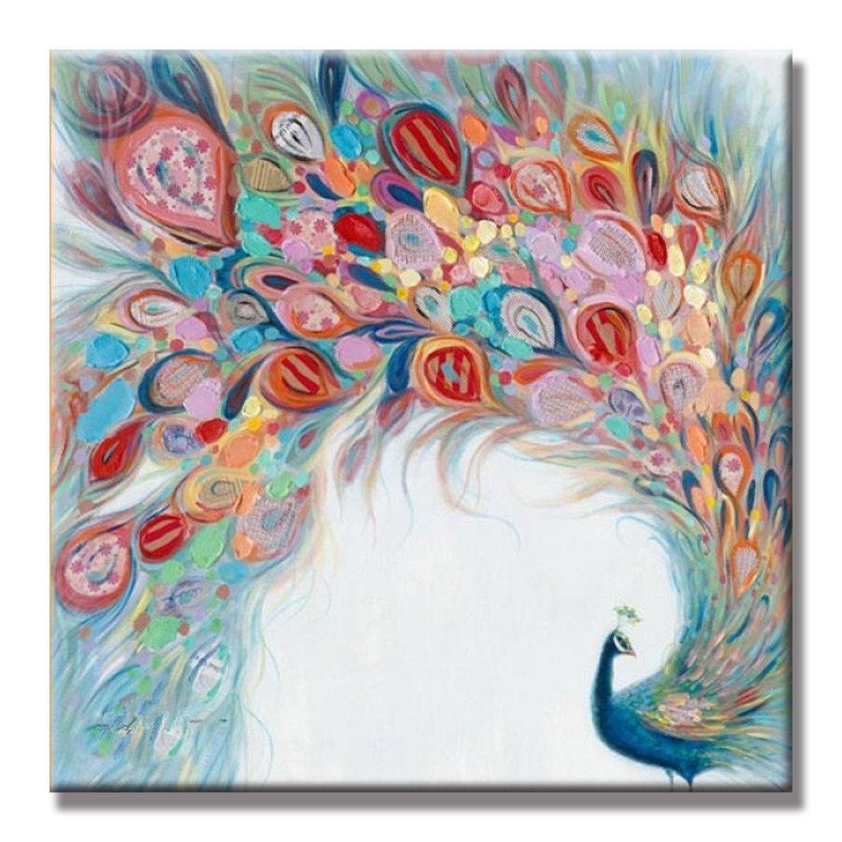SEVEN WALL ARTS - 100% Hand Painted Oil Painting Animal Peacock Spreads Its Tail Painting with Frame for Home Decor (32x32 Inch)