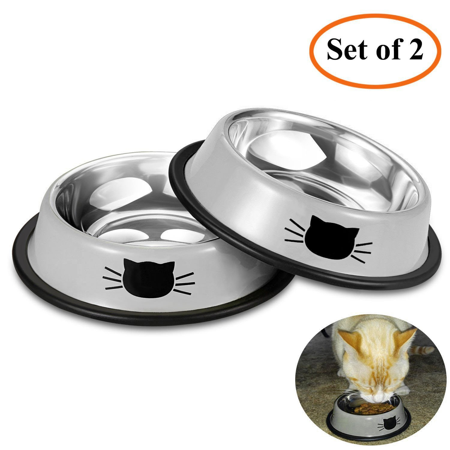 Comsmart Stainless Steel Pet Cat Bowl Puppy Dish Bowl with Cute Cats Painted Non-Skid for Small Dogs Cats (2 Pack) (Grey/Grey)