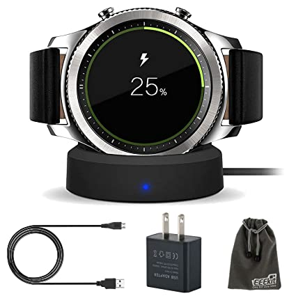 EEEKit Charger Dock for Galaxy Gear S3, Qi Wireless Replacement Charging Dock Cradle Stand Charger + AC Wall Charger Adapter for Samsung Gear S3 ...