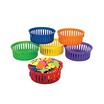 Fun Express Classroom Small Round Storage Basket - 6 Pieces - Educational and Learning Activities for Kids: Toys & Games
