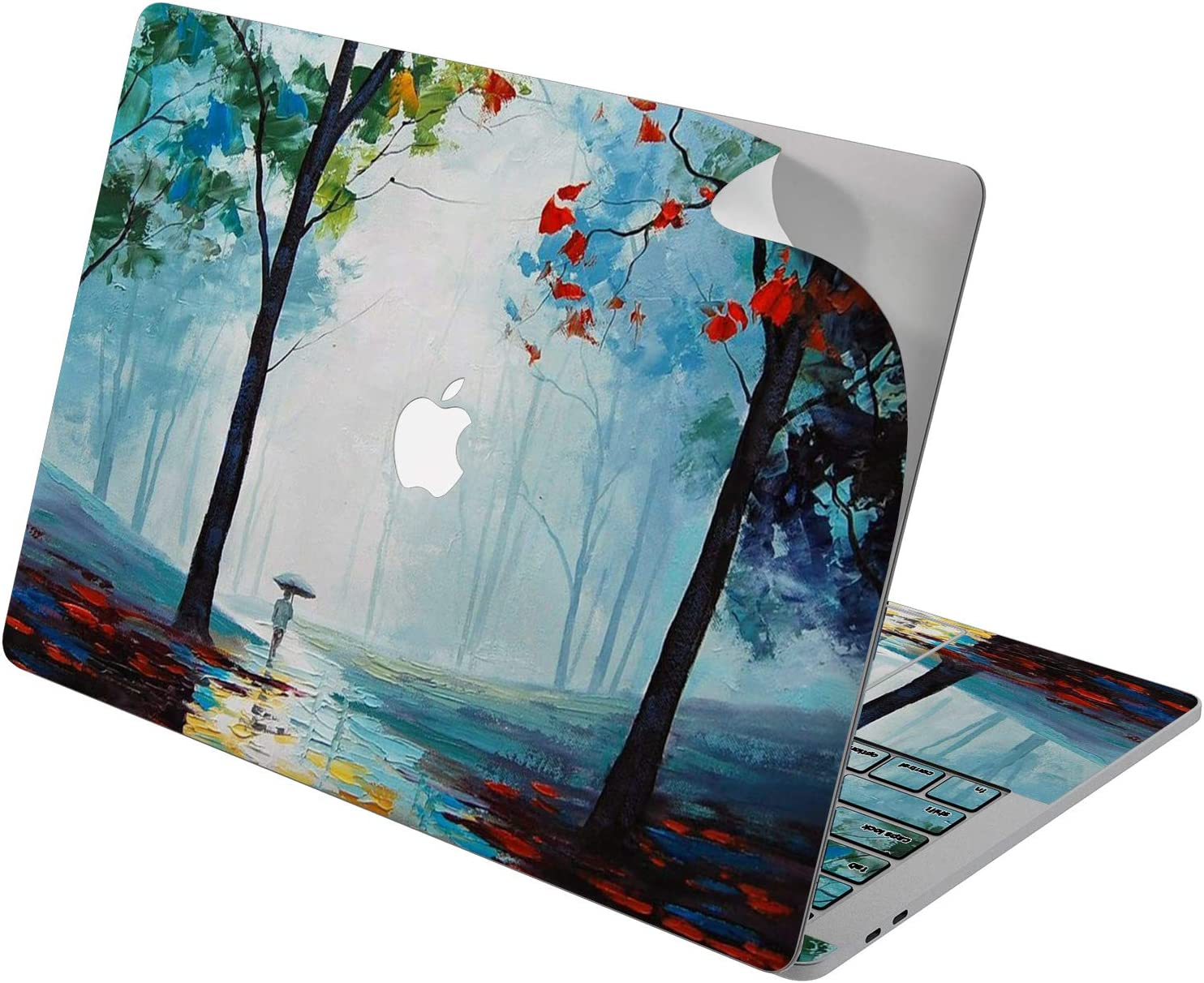 "Cavka Vinyl Decal Skin for Apple MacBook Pro 13"" 2019 15"" 2018 Air 13"" 2020 Retina 2015 Mac 11"" Mac 12"" Forest New Cover Painting Protective Print Laptop Blue Sticker Autumn Design Acrylic Walk Trees"