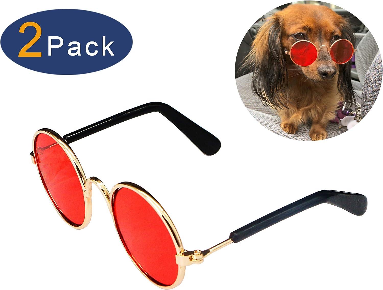 YAODHAOD Pet Dog Cat Gafas de Sol, Classic Retro Round Metal Prince Princess Gafas de Sol Puppy Katie Photo Props Toys (Paquete de 2) (8CM, Rojo)