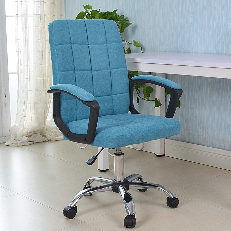 Hög rygg kontorsstol justerbar ergonomisk skrivbordsstol med tjock sittkudde, verkställande linne svängbar uppgift stol med ländrygg stöd BLÅ