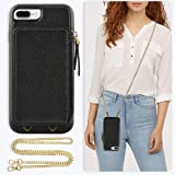 ZVE Case for Apple iPhone 8 Plus and iPhone 7 Plus, 5.5 inch, Leather Wallet Case with Crossbody Chain Credit Card Holder Slo