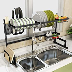 Over the Sink Dish Drying Rack Adjustable, Junyuan Length Adjustable(33''>size<41.3'') dish=