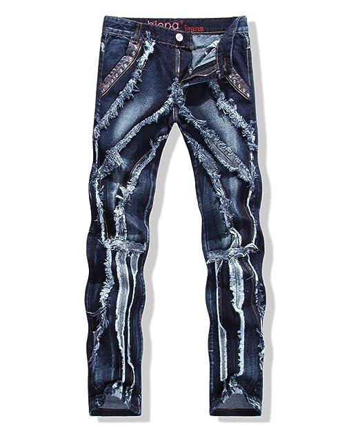 Amazon.com: De los hombres recto Slim Fit Ripped Jeans con ...