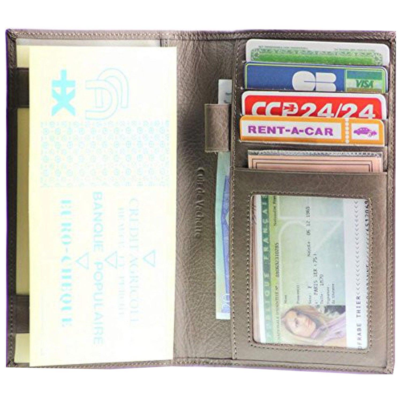 IDEE CADEAU Tout-en-un Porte ch/équier Stylo Monnaie Cartes Documents Portefeuille Cuir Taupe S5919 VANITY