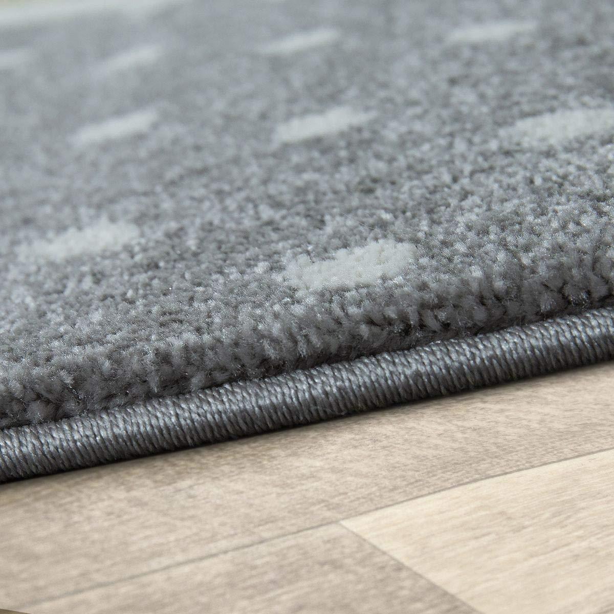 TT Home Kinder Teppich Modern S/ü/ßer Hase Mit Krone Punkte Design Spielteppich Grau Wei/ß Gr/ö/ße:80x150 cm
