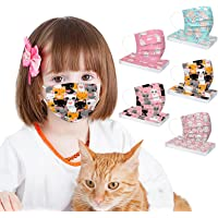 50 Pcs Kids Disposable Face_Masks, Halloween Decor Colorful Printed Cute Design with Elastic Earloop 3 Ply for Children