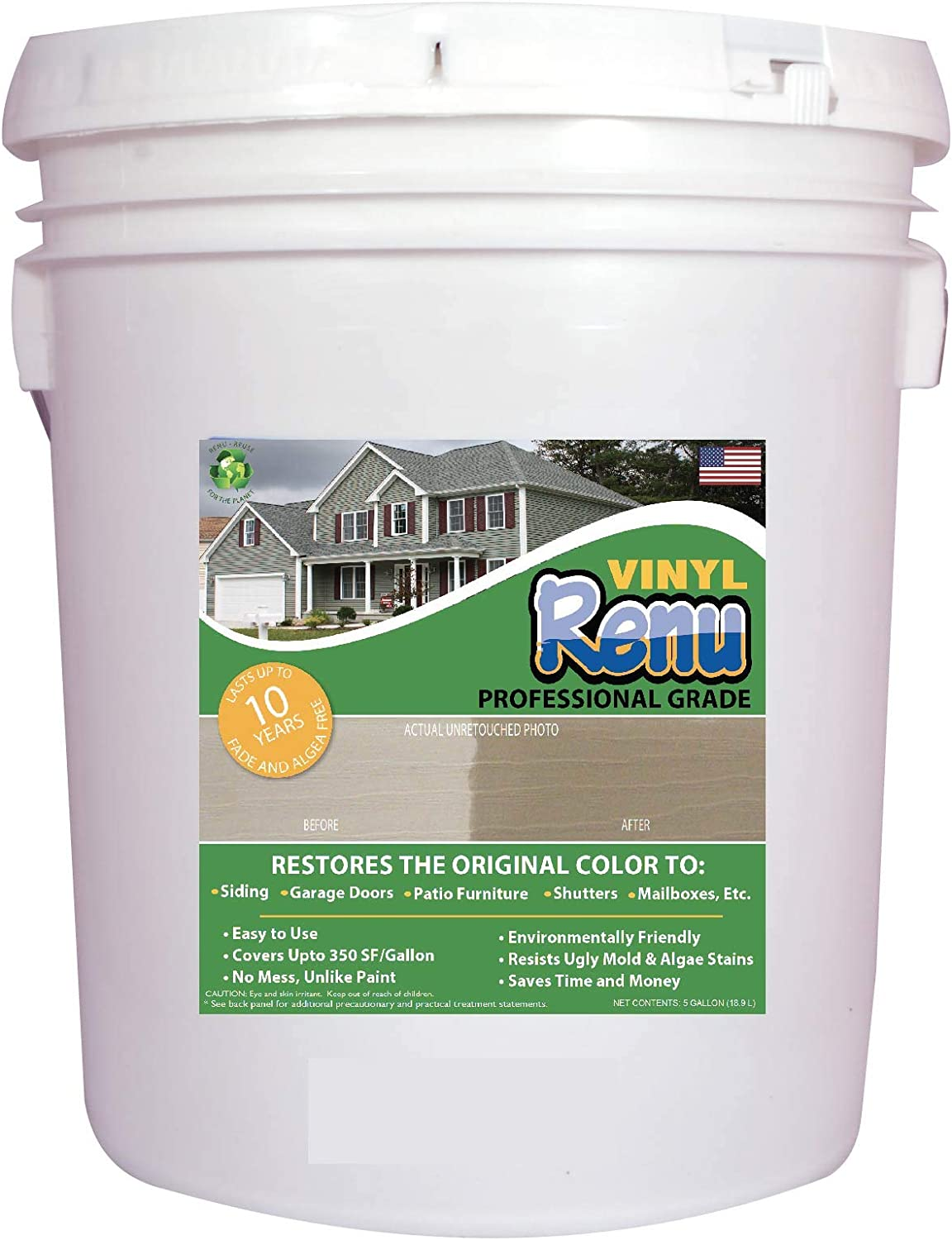 Vinyl Renu PRO 5 Gallon-Vinyl Siding & Multi Surface Restorer-Restores Color & Protects Faded Vinyl, Metal, Cement Board & Stucco Siding. 10 Year Warranty Included. Easy To Apply With No Mess