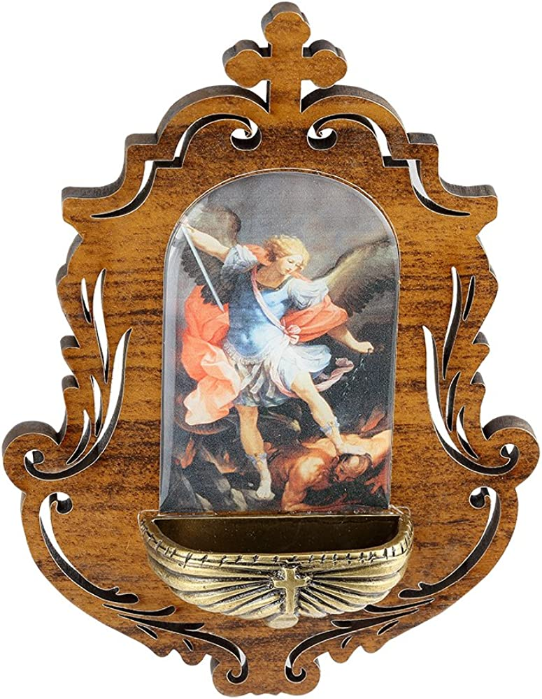 Catholica Shop St Michael Wooden Holy Water Wall Font Made in Brazil