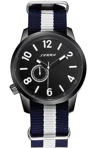 findtime para hombre negro deportes baratos lienzo cuarzo muñeca relojes: Amazon.es: Relojes