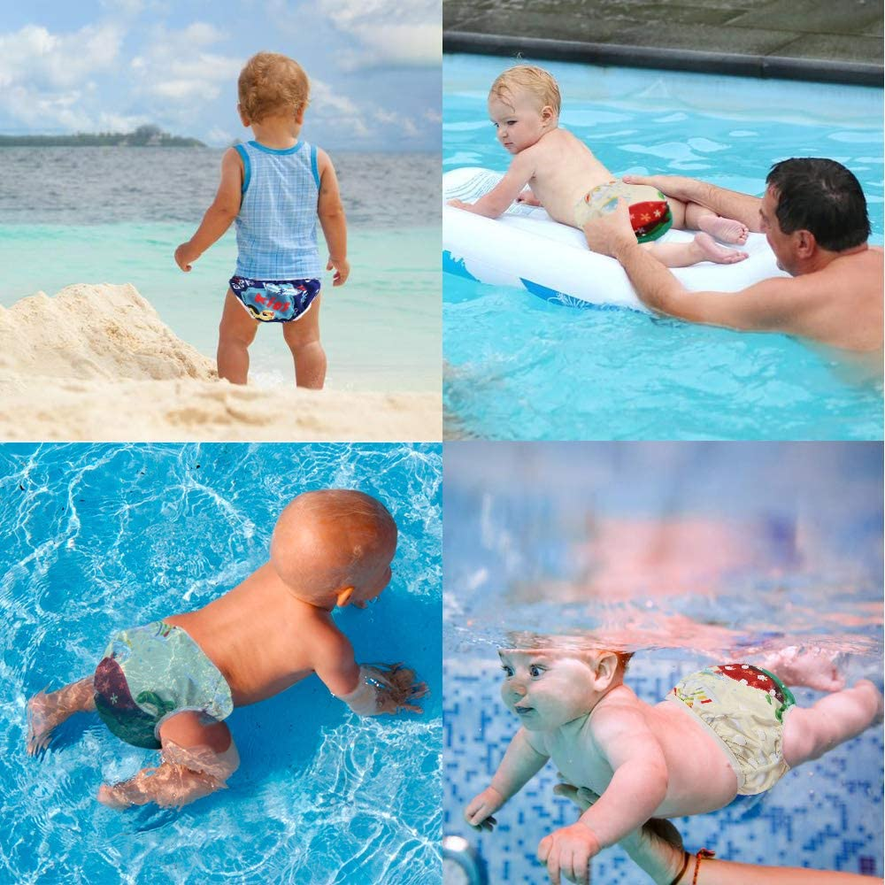 0-3 Baby Swimwear Boys Girls Ideal for Swimming Lessons Pool Beach Holiday Washable Adjustable Baby Cloth Diaper Nappy Bag Swim Pants 2Pcs+1 Wet Bag Reusable Swim Nappies BelleStyle Swim Nappy