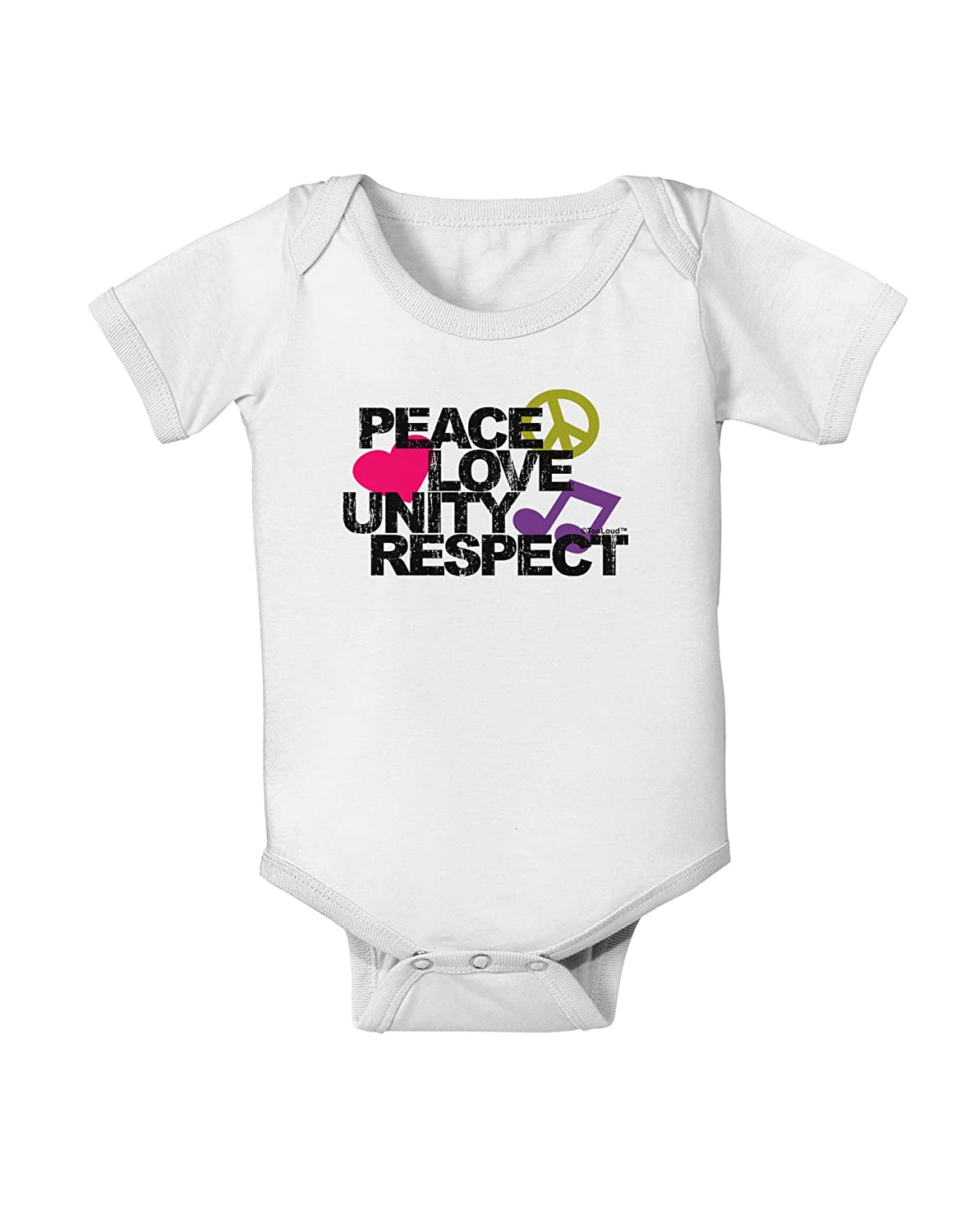 TooLoud Plur Distressed Text Baby Romper Bodysuit