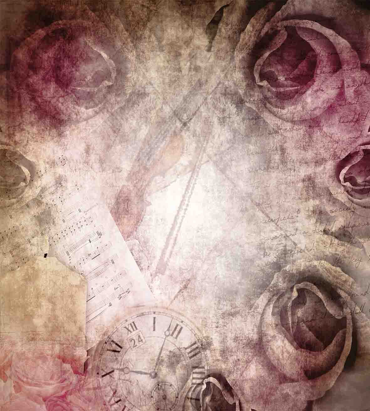 Grunge Style Vintage Inspired Rose Design on Retro Artful Elements Violin Time Music Decorative 3 Piece Bedding Set with 2 Pillow Shams Ambesonne Rose Duvet Cover Set King Size Pink Beige