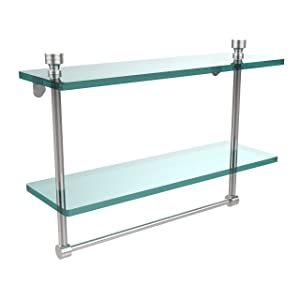 Allied Brass FT-2/16TB-PC Foxtrot Collection 16 Inch Two Tiered Glass Shelf with Integrated Towel Bar, Polished Chrome