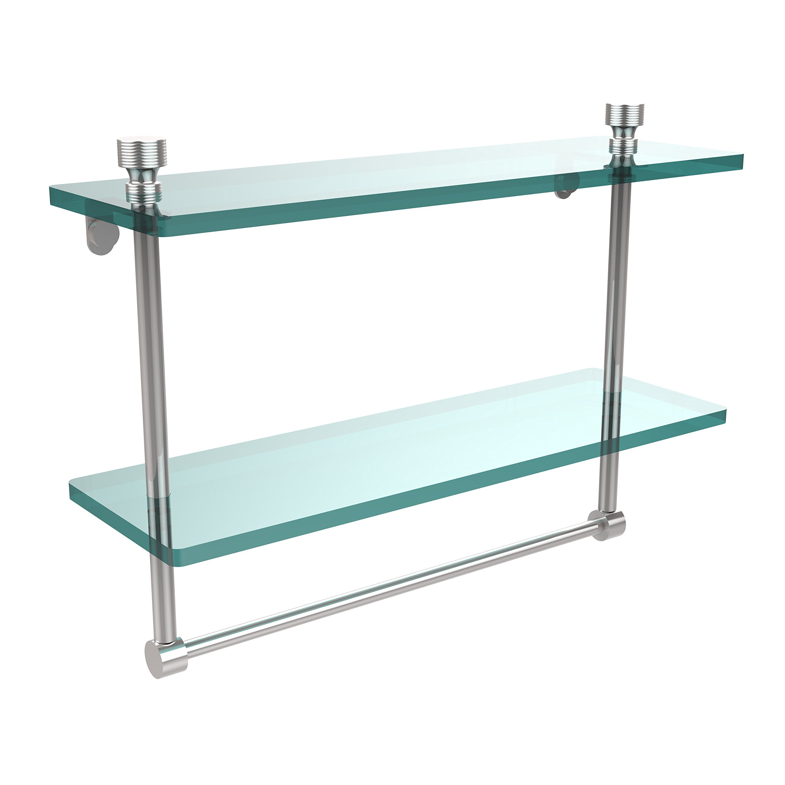 Allied Brass FT-2/16TB-PC Foxtrot Collection 16 Inch Two Tiered Glass Shelf with Integrated Towel Bar Polished Chrome