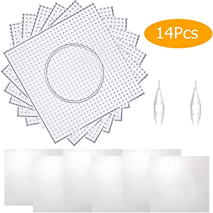 6 Pieces 5mm Large Square Fuse Beads Boards Clear Pegboards for Kids Craft Beads