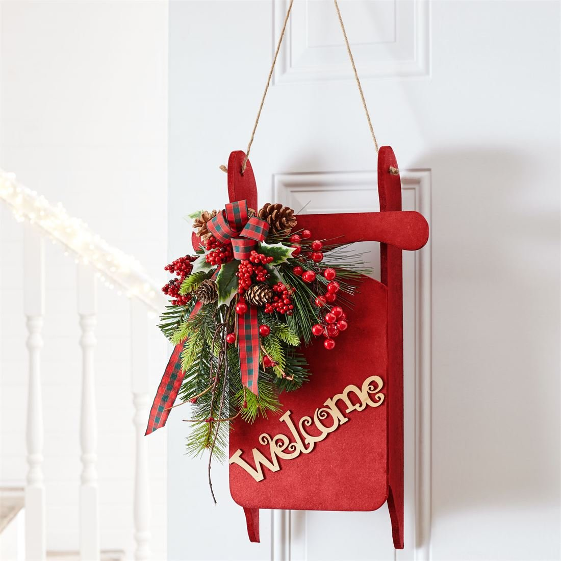 BrylaneHome Decorative Welcome Sled (Red,0)