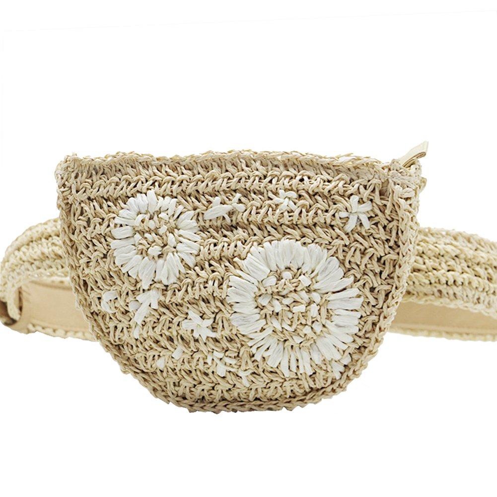 Leiyini 2018 Fashion Straw Waist Pack 100% Handmade Belt Bag Embroidery Flower Design Fanny Bag Outdoor Summer Holiday Waist Bag Sand beach Travel Bolso (Beige)
