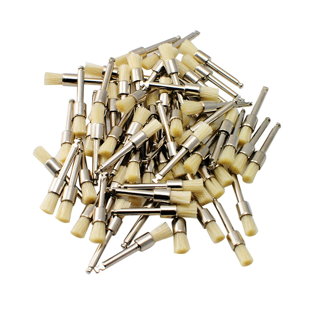 Angelwill 100 Pcs Dental Prophy Brush Polishing Brush White Bristle Latch Flat Type Polisher