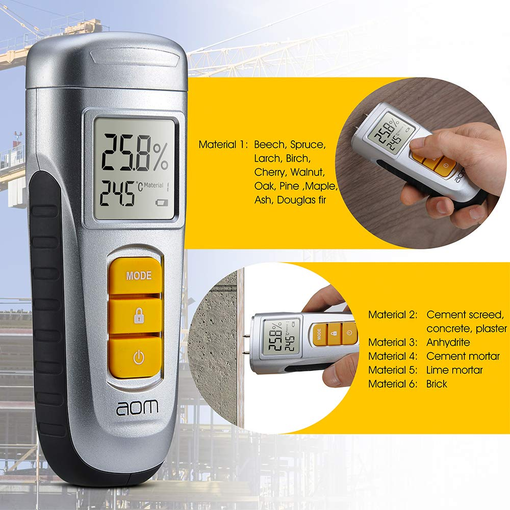 Medidor de humedad de madera, medidor de humedad digital LCD con 2 pines para troncos, leña, plantas, yeso, paredes y suelos, plateado: Amazon.es: Bricolaje ...